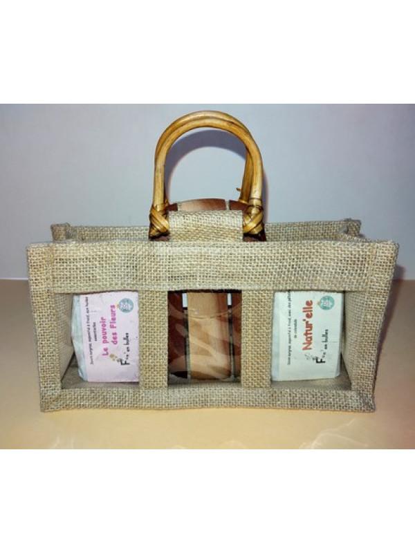 2 savons + porte savon Acajou dans un panier jute et bambou
